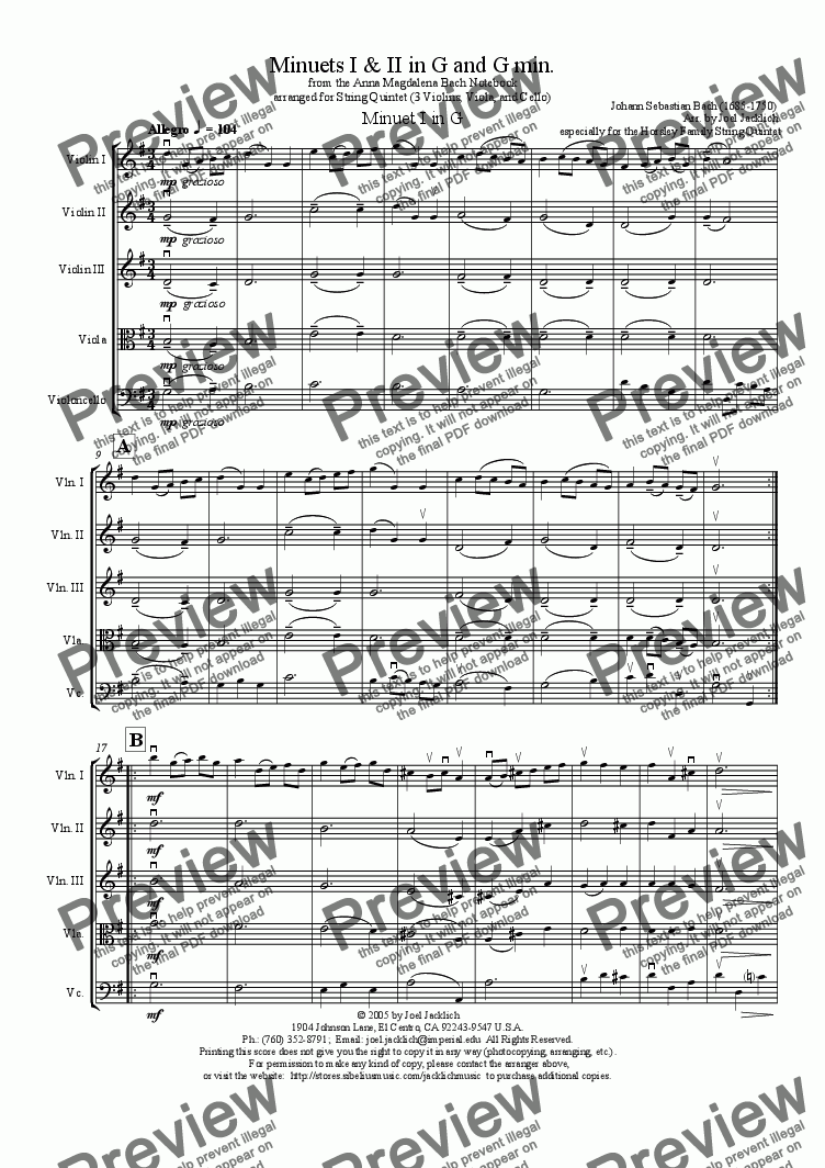 page one of Minuets I & II in G & g from the Notebook of Anna Magdalena Bach (arranged for String Quintet - 3 violins, viola, & cello)ASALTTEXT