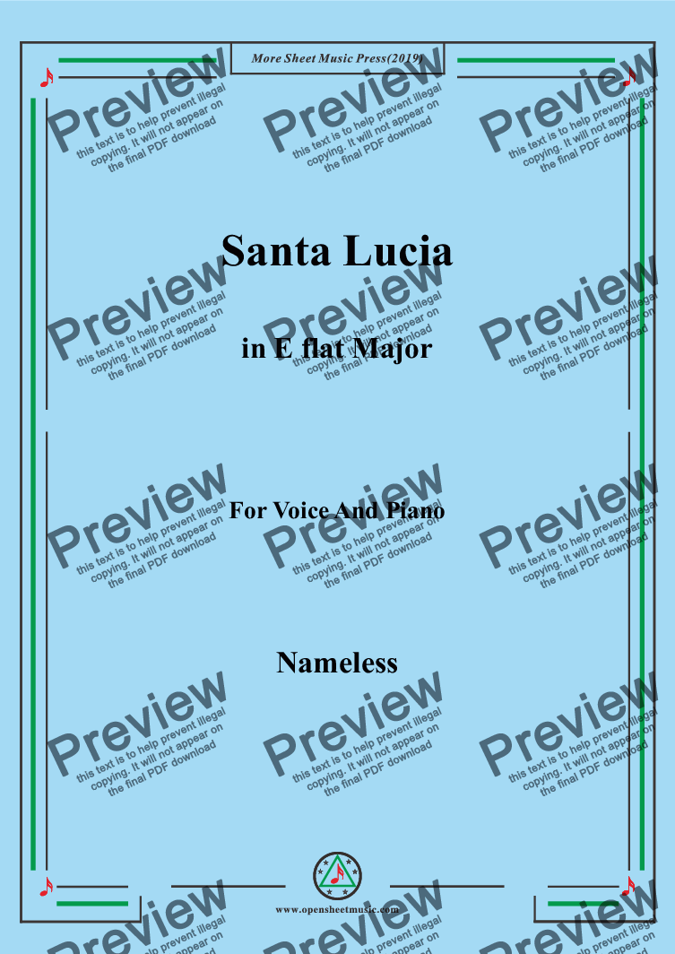page one of Nameless-Santa Lucia in E flat Major,for Voice&Pno