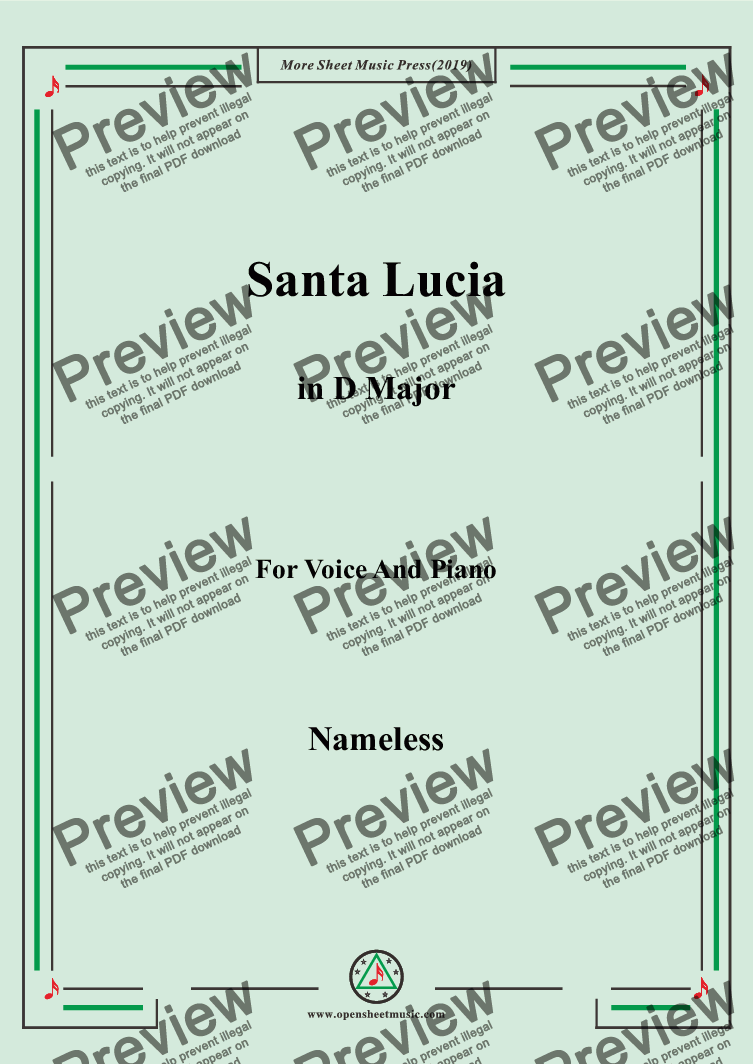 page one of Nameless-Santa Lucia in D Major,for Voice&Pno