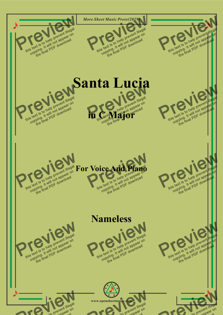 page one of Nameless-Santa Lucia in C Major,for Voice&Pno