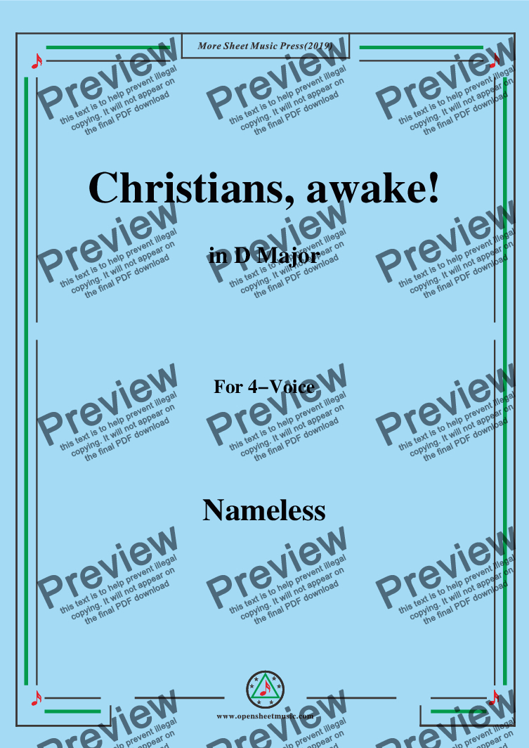 page one of Nameless-Christmas Carol,Christians,awake,in D Major,for 4 Voice