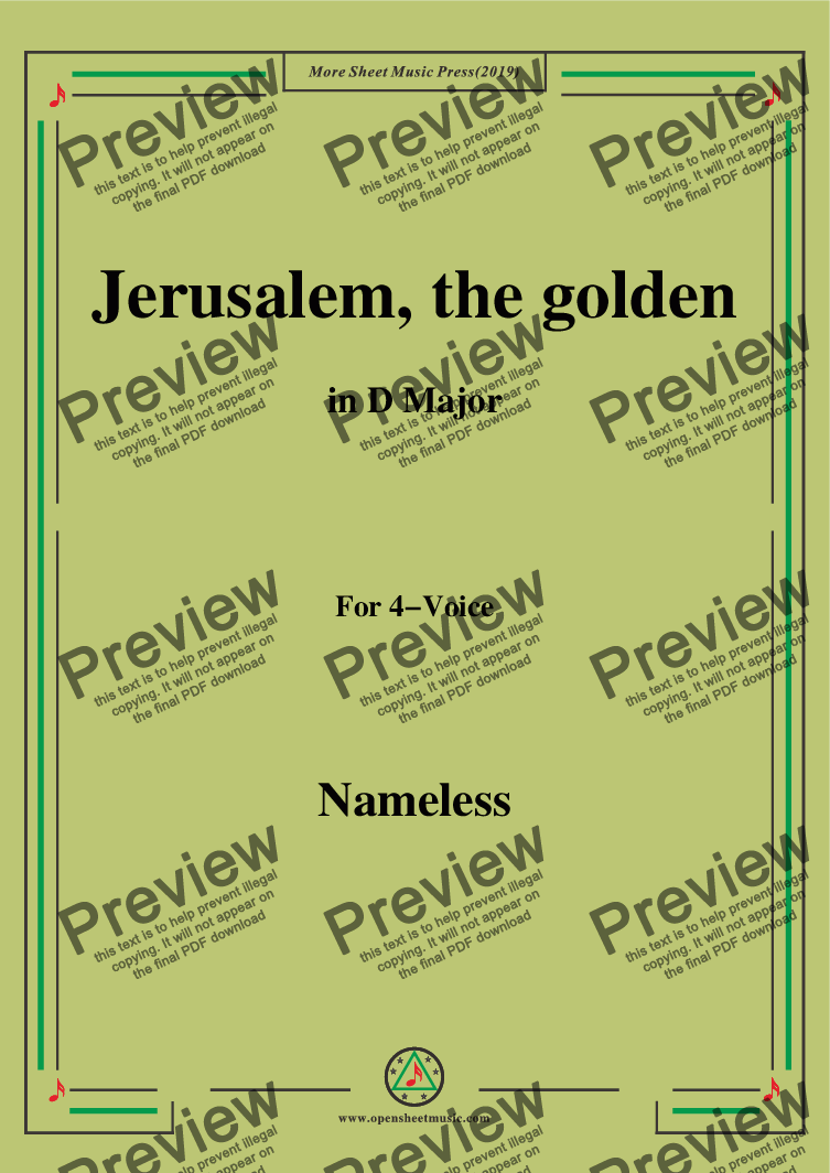 page one of Nameless-Christmas Carol,Jerusalem,the golden,in D Major,for 4 Voice