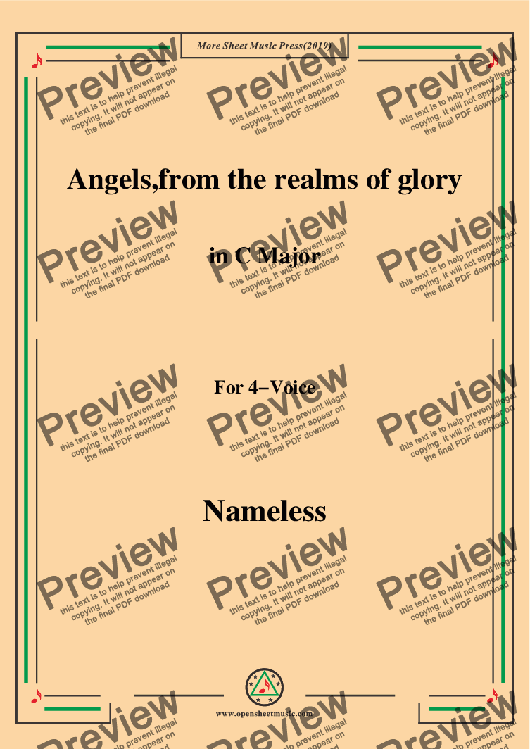 page one of Nameless-Christmas Carol,Angels,from the realms of glory,in C Major,for 4 Voice