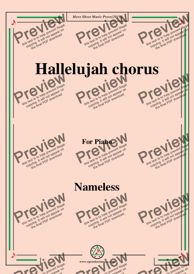 page one of Nameless-Hallelujah chorus,for piano