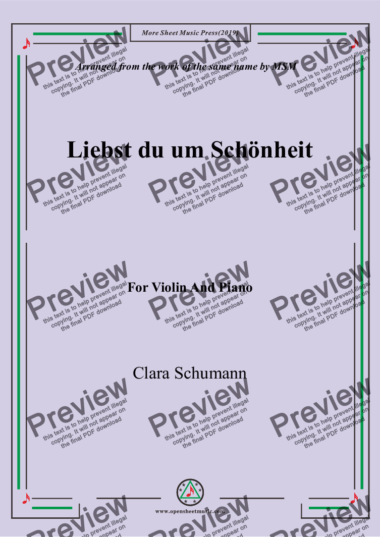 page one of Clara-Liebst du um Schönheit,for Violin and Piano