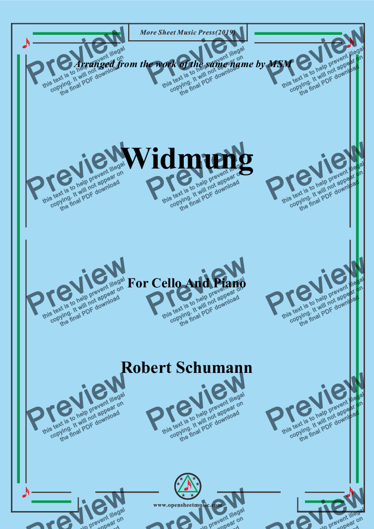 page one of Schumann-Widmung,Op.25 No.1,from Myrten,for Cello and Piano
