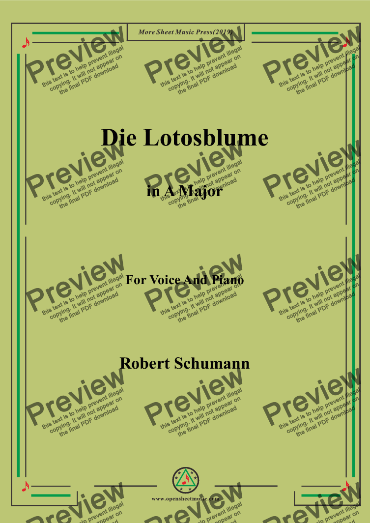 page one of Schumann-Die Lotosblume in A Major,for Voice&Pno