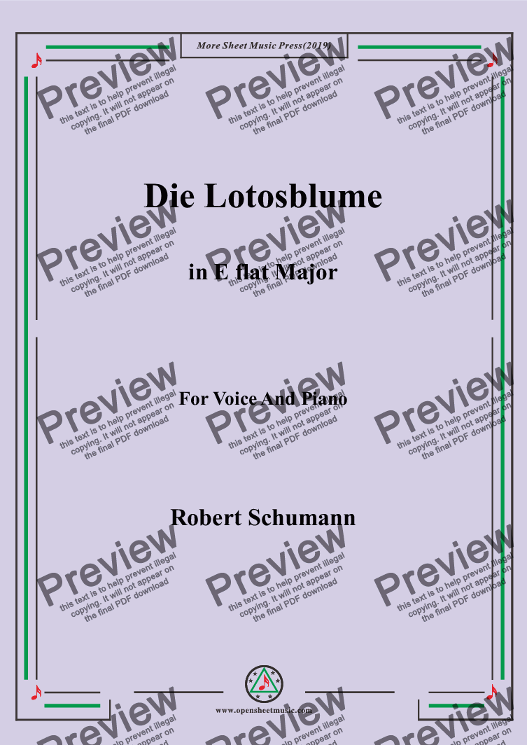 page one of Schumann-Die Lotosblume in E flat Major,for Voice&Pno