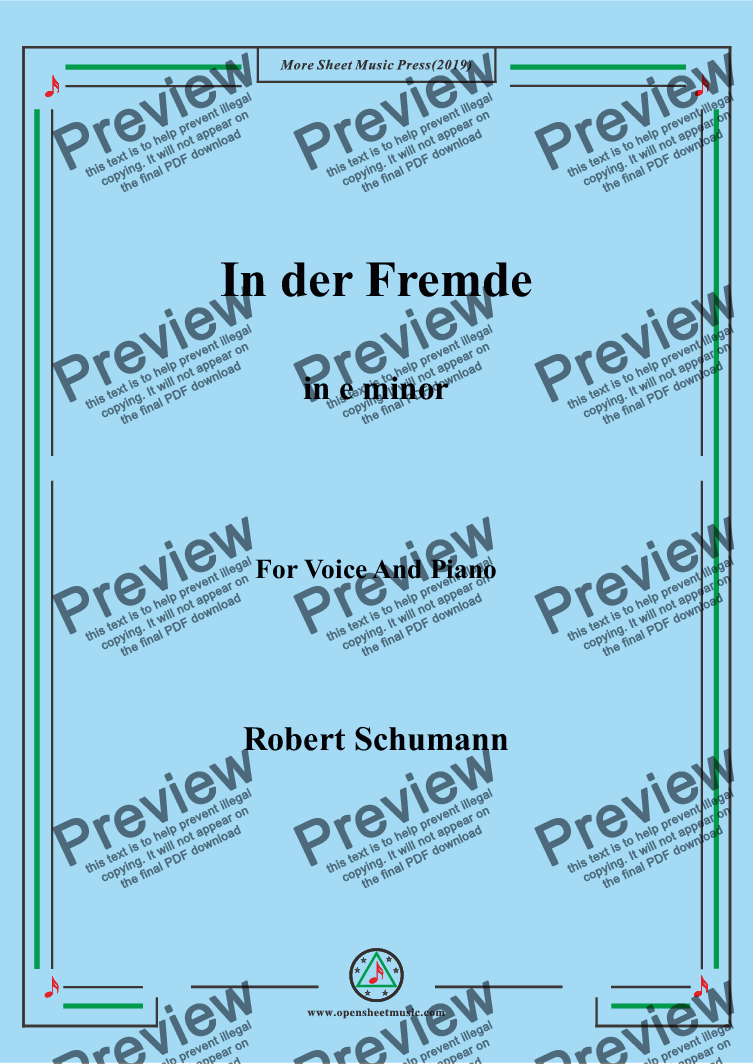 page one of Schumann-In der Fremde in e minor,for Voice&Pno