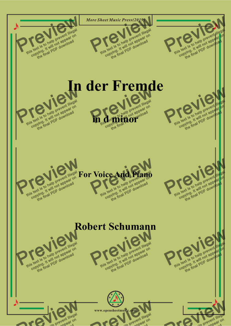 page one of Schumann-In der Fremde in d minor,for Voice&Pno