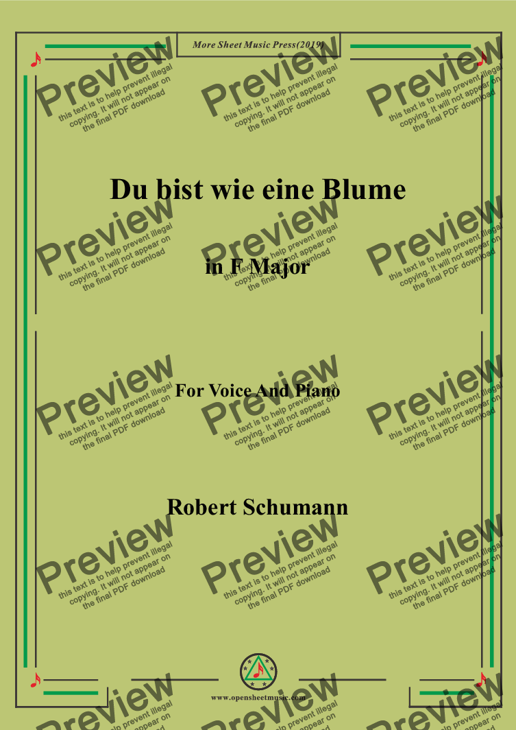 page one of Schumann-Du bist wie eine Blume in F Major,for Voice&Pno