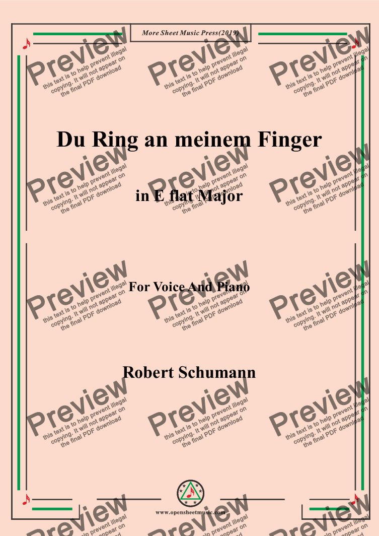 page one of Schumann-Du Ring an meinem Finger in E flat Major,for Voice&Pno