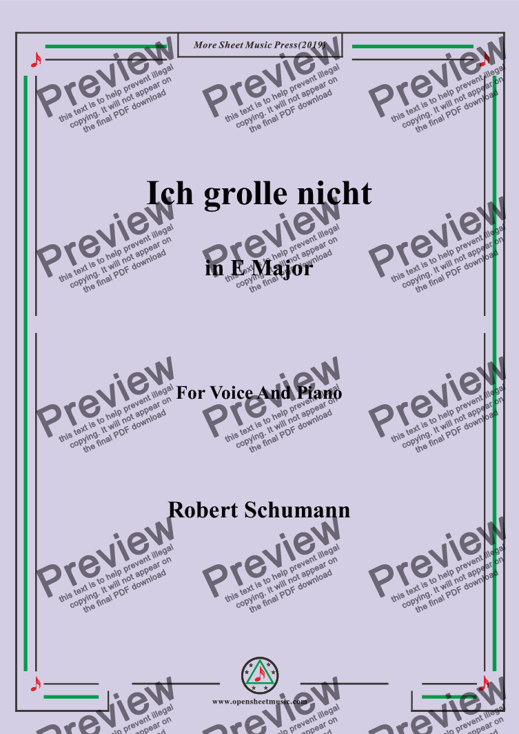 page one of Schumann-Ich grolle nicht in E Major,for Voice&Pno