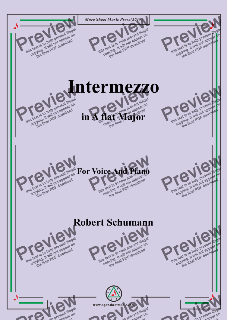 page one of Schumann-Intermezzo in A flat Major,for Voice&Pno