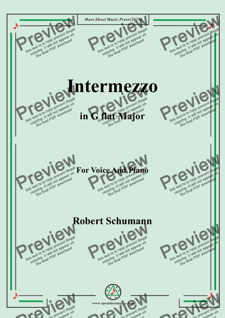 page one of Schumann-Intermezzo in G flat Major,for Voice&Pno