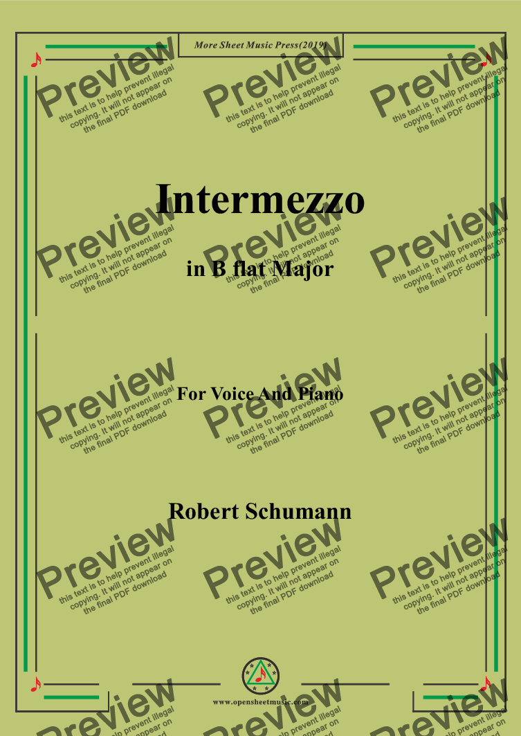 page one of Schumann-Intermezzo in B flat Major,for Voice&Pno