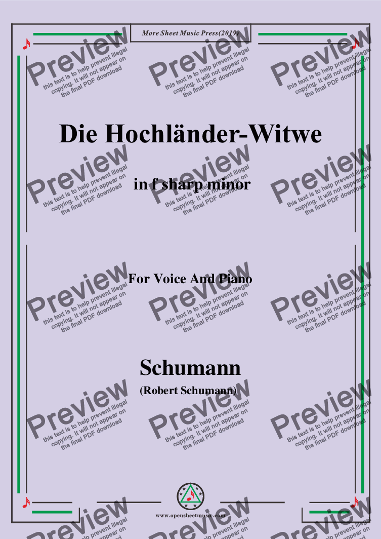 page one of Schumann-Die Hochländer-Wittwe,in f sharp minor,for Voice and Piano