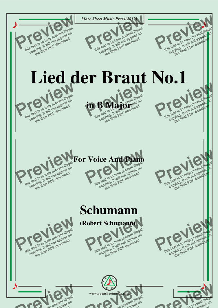 page one of Schumann-Lied der Braut No.1,in B Major,for Voice and Piano