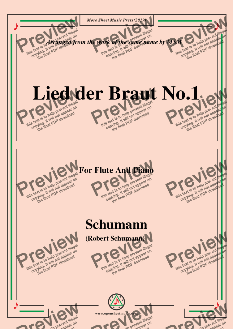 page one of Schumann-Lied der Braut No.1,for Flute and Piano
