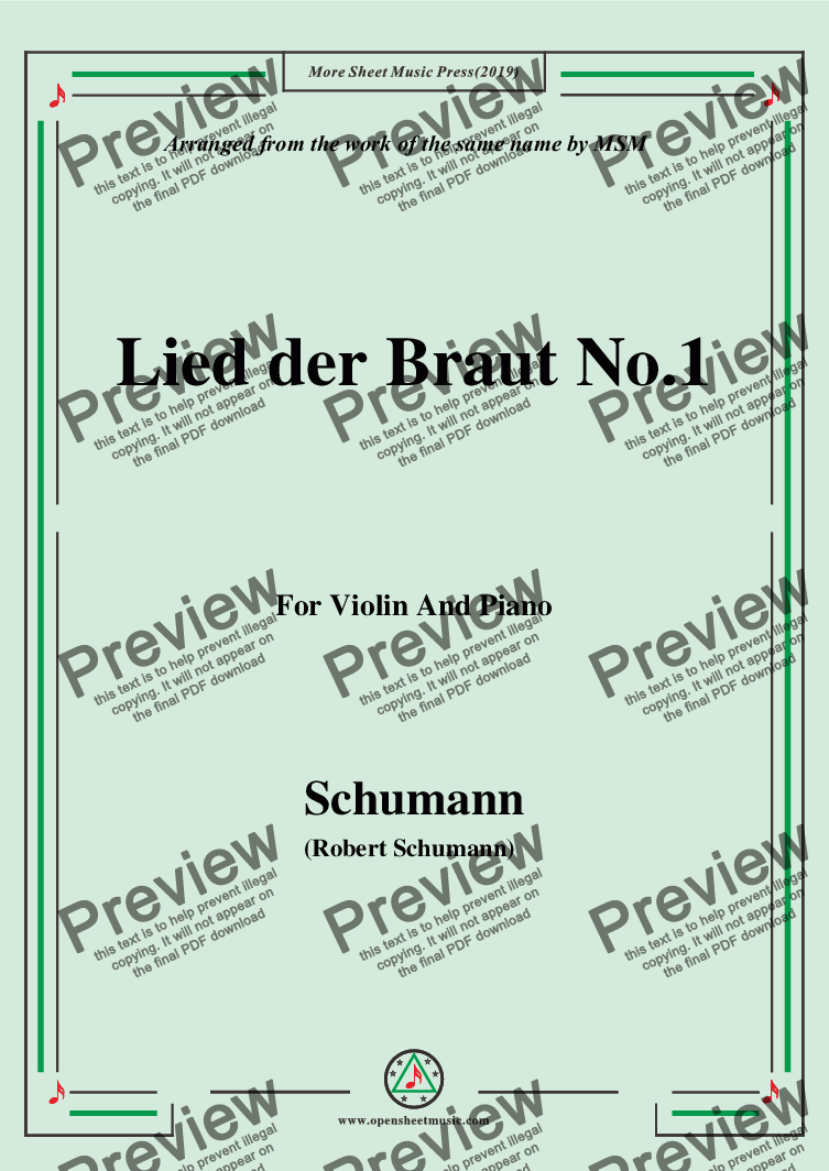 page one of Schumann-Lied der Braut No.1,for Violin and Piano