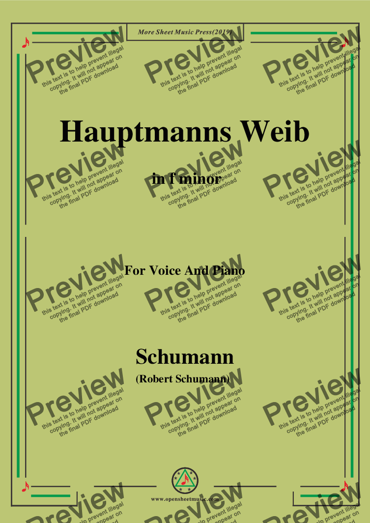 page one of Schumann-Hauptmanng Weib,in f minor,for Voice and Piano