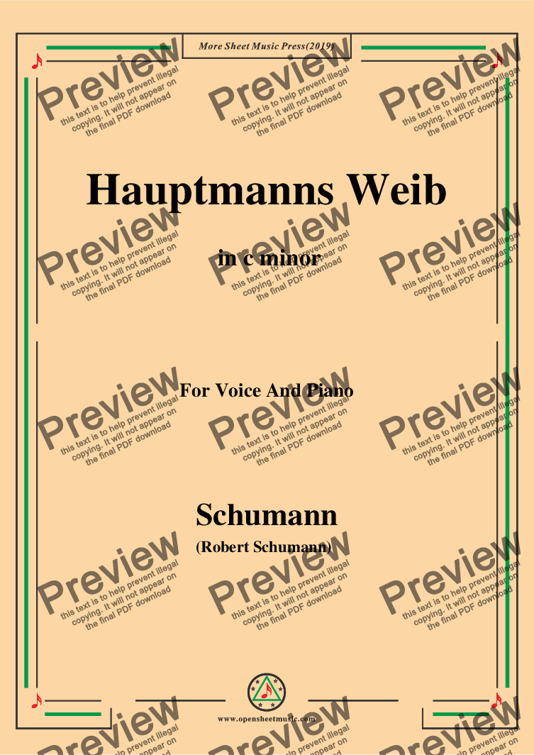 page one of Schumann-Hauptmanng Weib,in c minor,for Voice and Piano