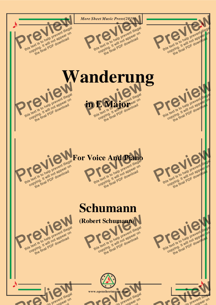 page one of Schumann-Wanderung,in E Major,for Voice and Piano