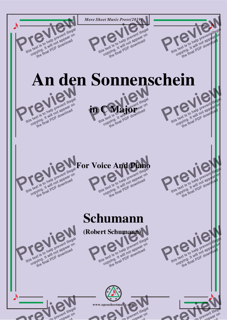 page one of Schumann-An den Sonnenschein,in C Major,for Voice and Piano