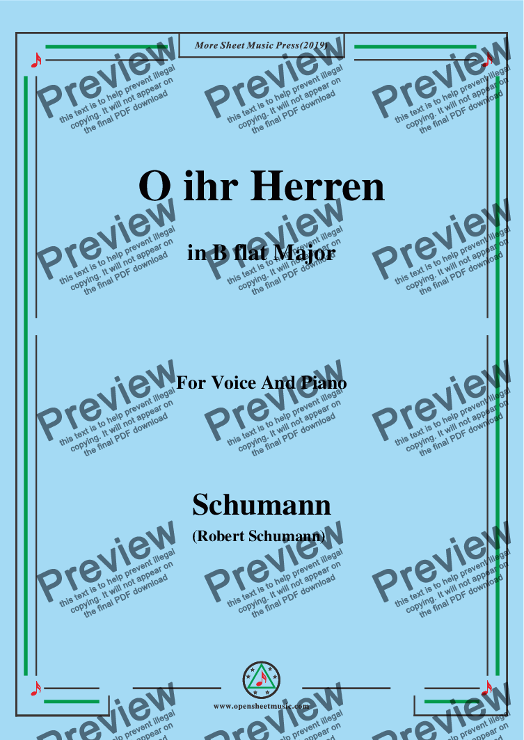 page one of Schumann-O ihr Herren,in B flat Major,for Voice and Piano