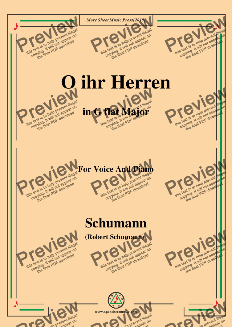 page one of Schumann-O ihr Herren,in G flat Major,for Voice and Piano