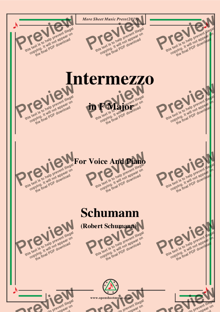 page one of Schumann-Intermezzo,in F Major,for Voice and Piano