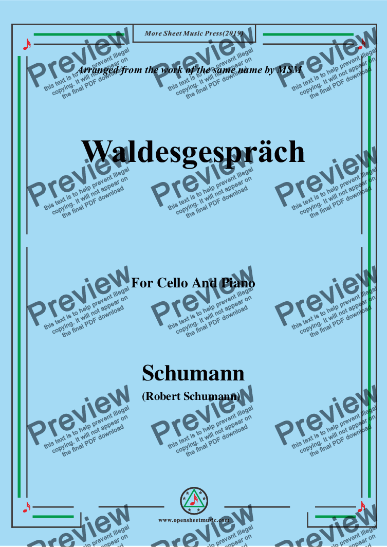 page one of Schumann-Waldcsgespräch,for Cello and Piano