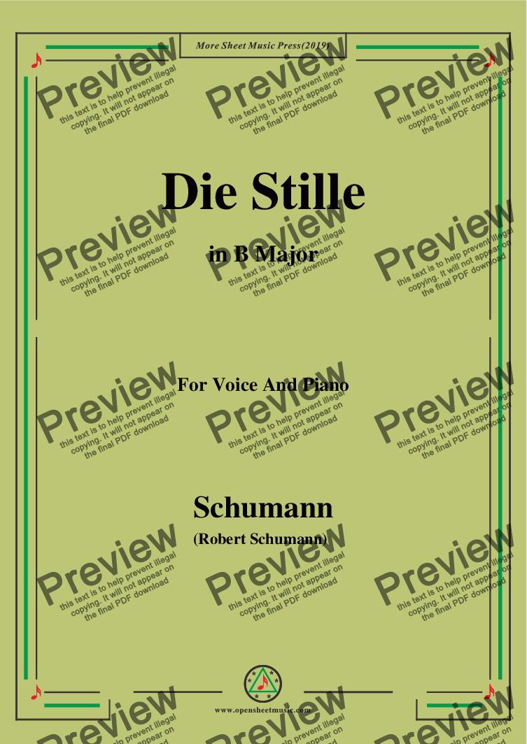 page one of Schumann-Die Stille,in B Major,for Voice and Piano