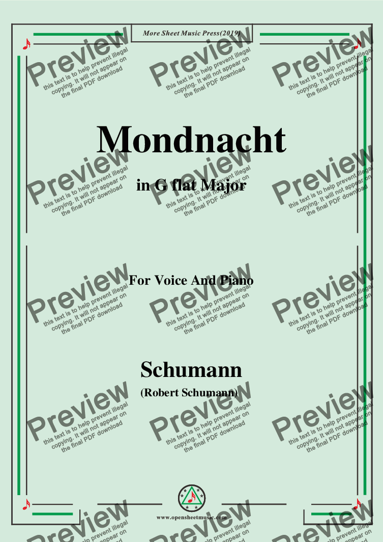 page one of Schumann-Mondnacht,in G flat Major,for Voice and Piano
