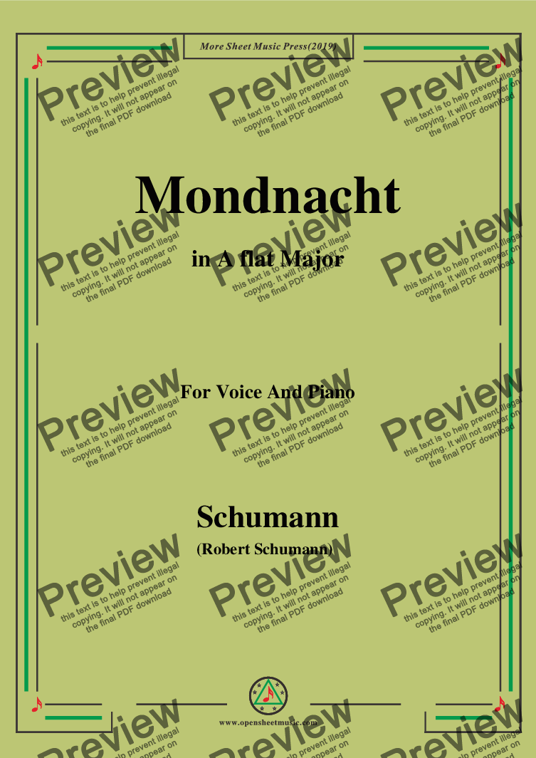 page one of Schumann-Mondnacht,in A flat Major,for Voice and Piano