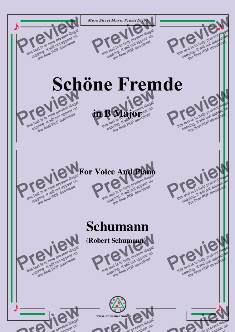 page one of Schumann-Schöne Fremde,in B Major,for Voice and Piano