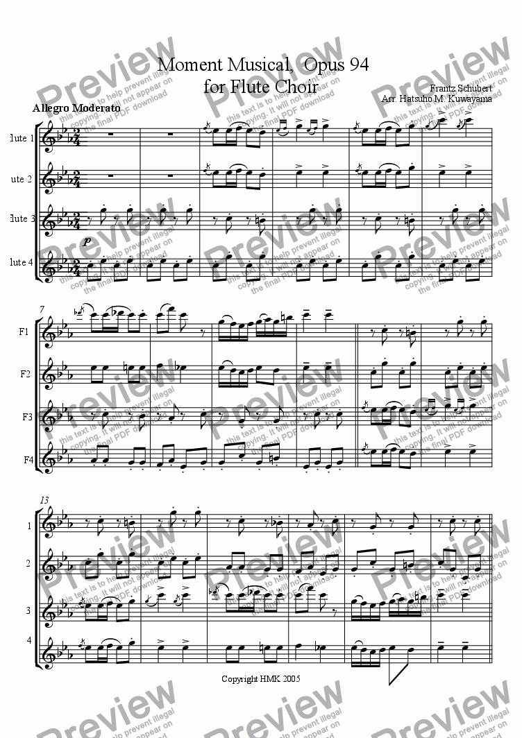 page one of Moment Musical for Flute Choir