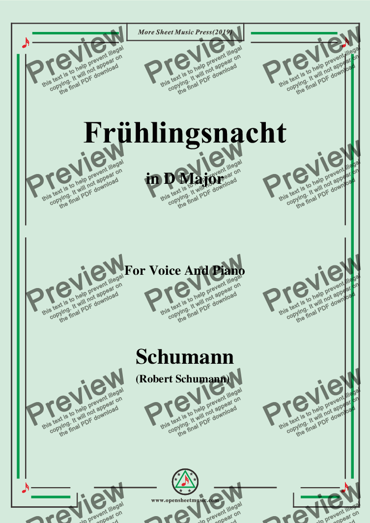 page one of Schumann-Frühlingsnacht,in D Major,for Voice and Piano