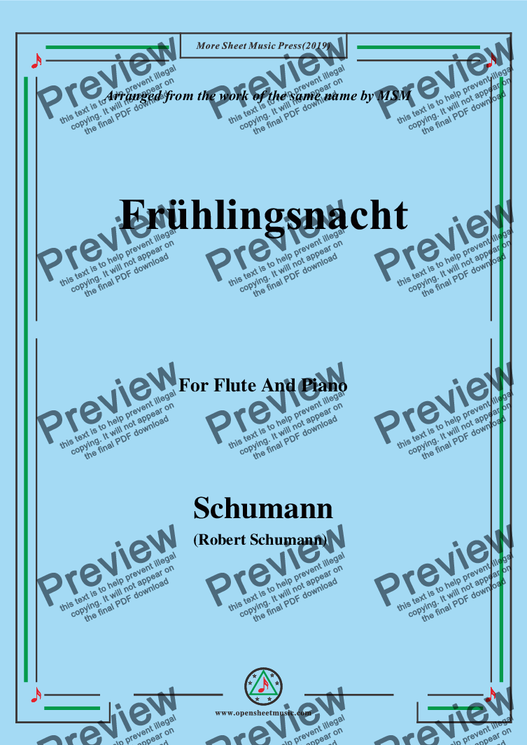 page one of Schumann-Frühlingsnacht,for Flute and Piano
