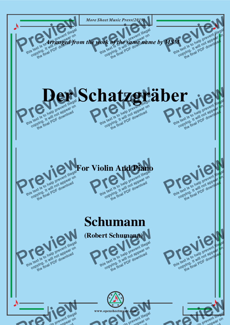 page one of Schumann-Der Schatzgräber,for Violin and Piano