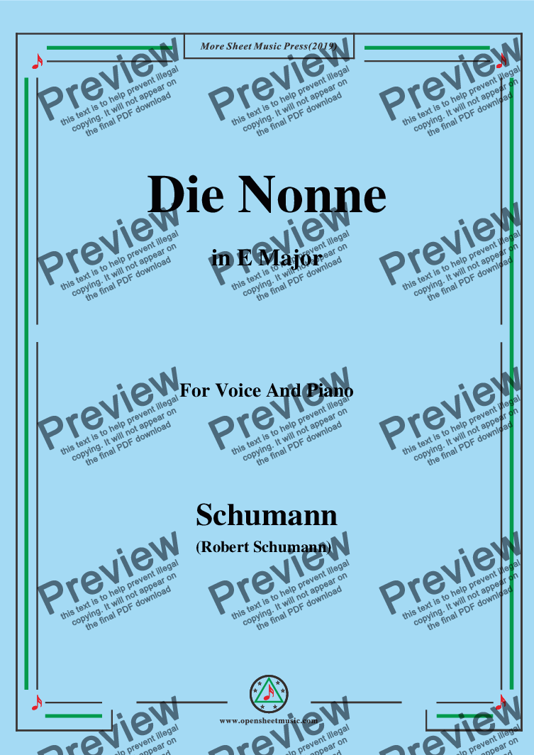 page one of Schumann-Die Nonne,in E Major,for Voice and Piano