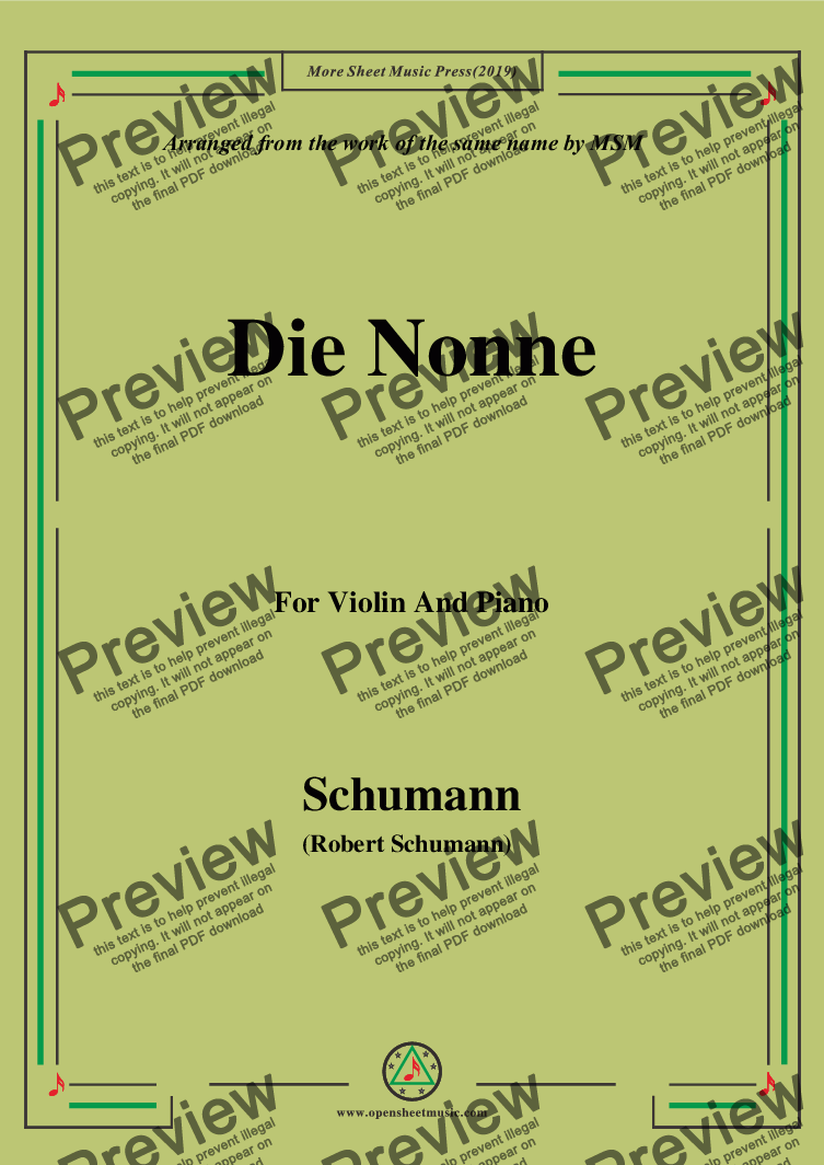page one of Schumann-Die Nonne,for Violin and Piano