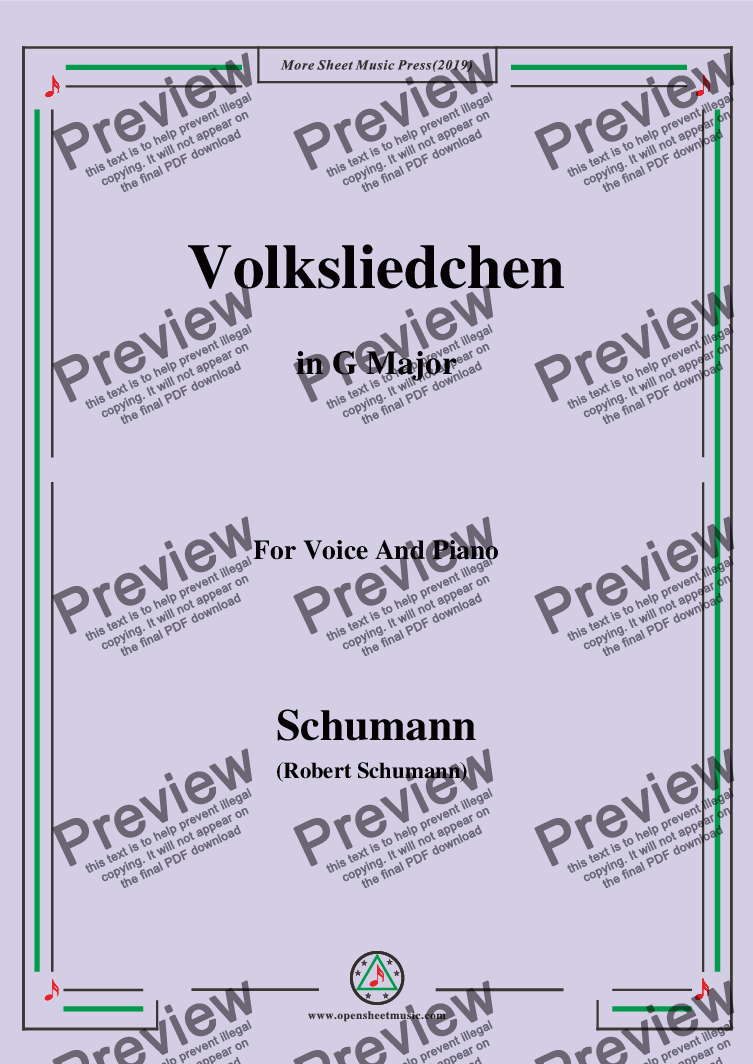 page one of Schumann-Volksliedchen,in G Major,for Voice and Piano