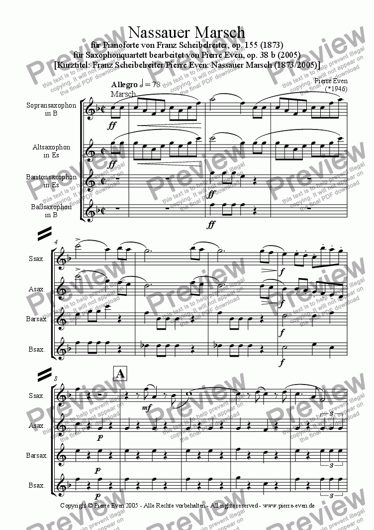page one of Nassau March - for Saxophone Quartet, op. 38 b