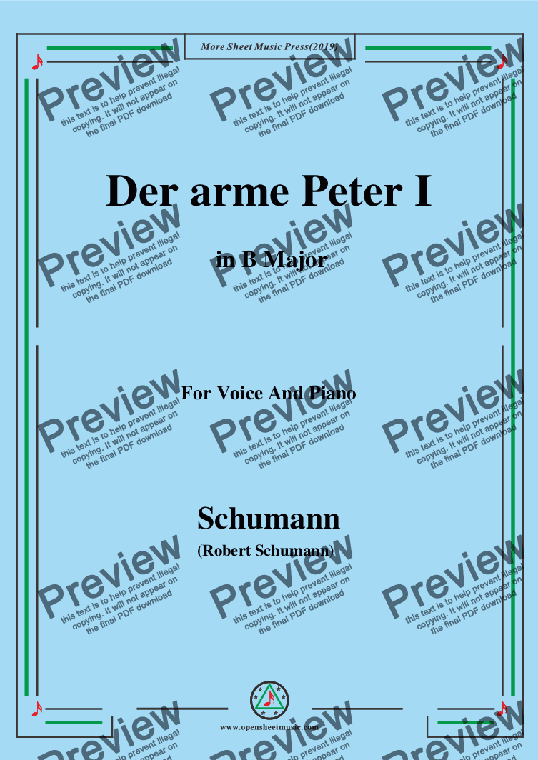 page one of Schumann-Der arme Peter 1,in B Major,for Voice and Piano