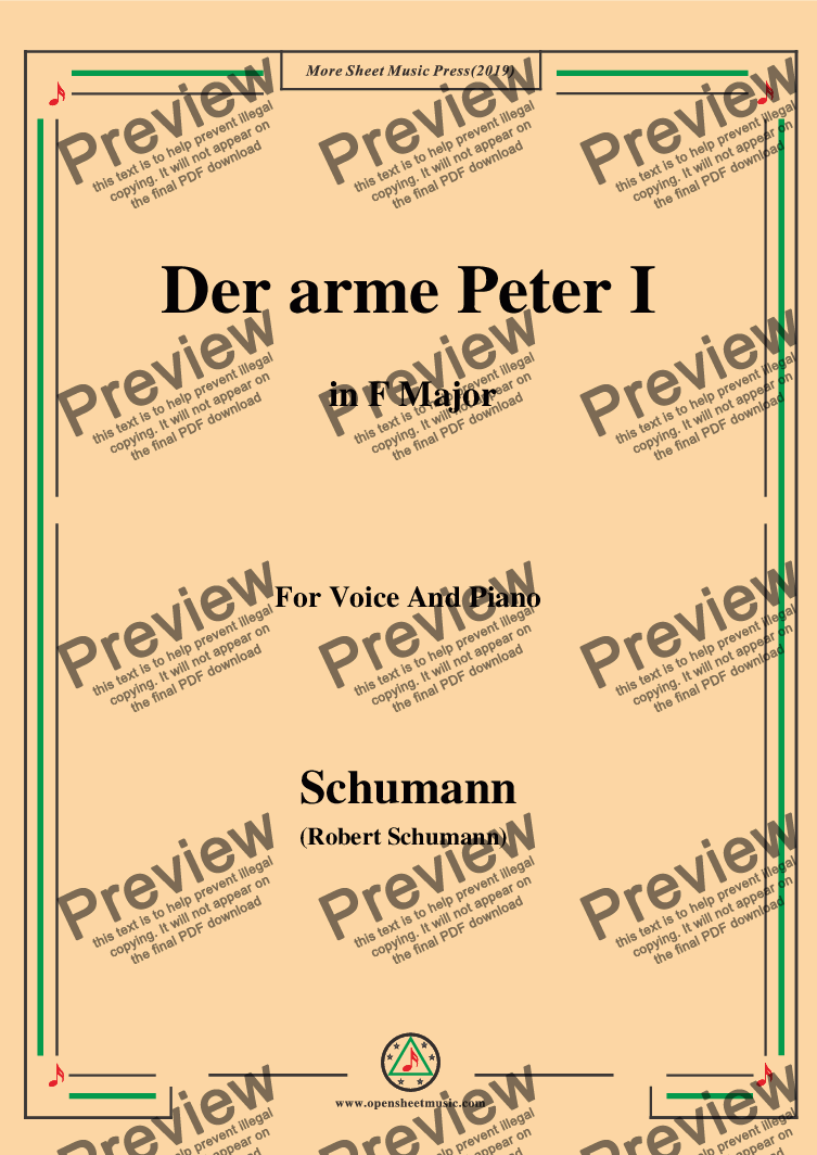 page one of Schumann-Der arme Peter 1,in F Major,for Voice and Piano