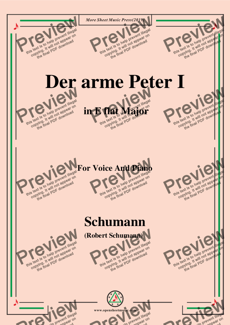 page one of Schumann-Der arme Peter 1,in E flat Major,for Voice and Piano