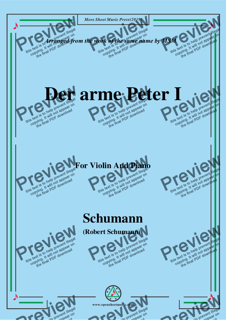 page one of Schumann-Der arme Peter 1,for Violin and Piano