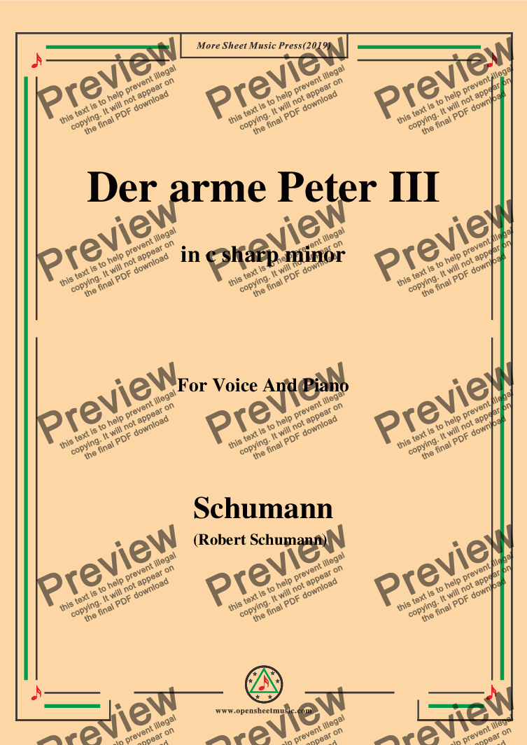 page one of Schumann-Der arme Peter 3,in c sharp minor,for Voice and Piano