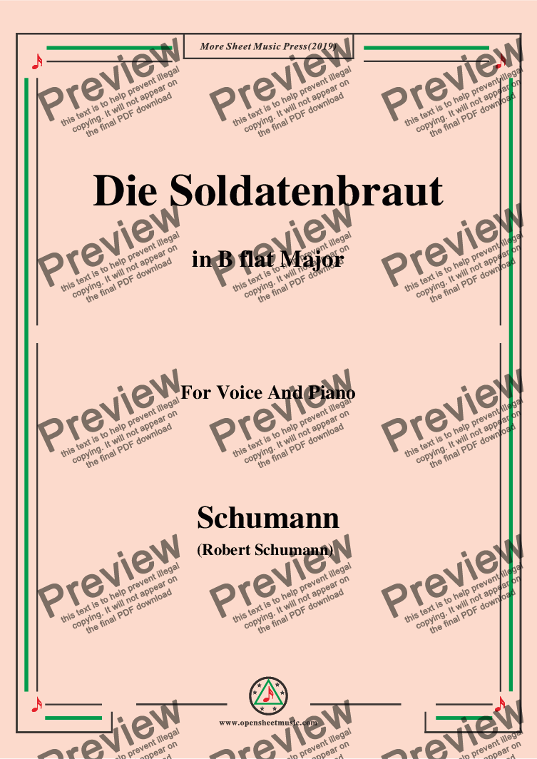 page one of Schumann-Die Soldntenbraut,in B flat Major,for Voice and Piano